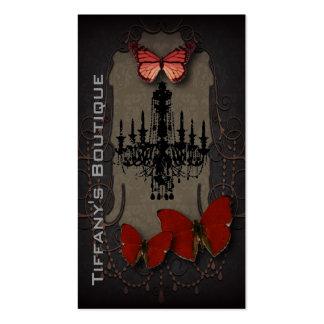 Lámpara roja del negro de la mariposa de Steampunk Tarjetas De Visita