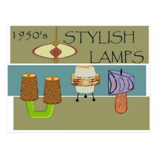 lámparas elegantes de los años 50 postal