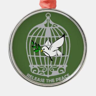 Lance la paloma de la paz adorno navideño redondo de metal