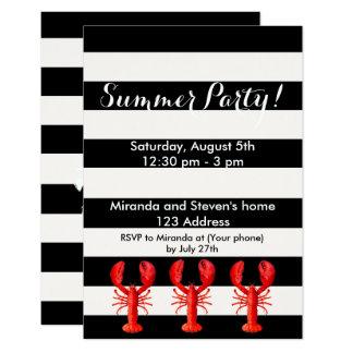 Langostas rojas del fiesta del verano en blanco invitación 8,9 x 12,7 cm