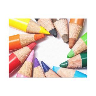 Lápices coloreados impresión en lienzo estirada