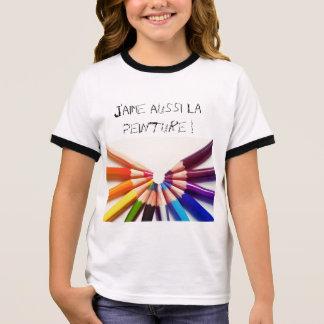 Lápices colores en abanico camiseta ringer