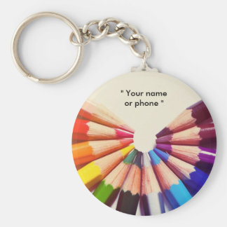 Lápices colores en abanico llavero redondo tipo chapa