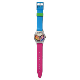 Lápices colores en abanico relojes de mano