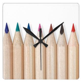 Lapices de colores reloj cuadrado