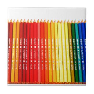 Lápices del color azulejo cuadrado pequeño