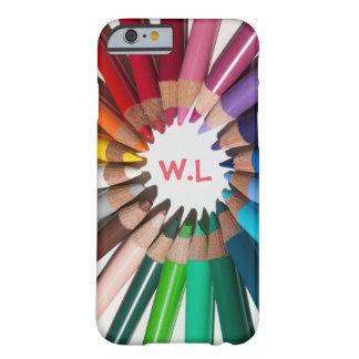 Lápices del color con la caja del teléfono de las funda de iPhone 6 barely there