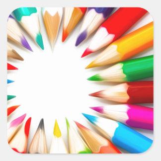 Lápices del color pegatina cuadrada
