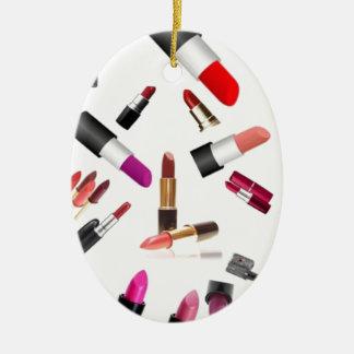 Lápices labiales adorno ovalado de cerámica