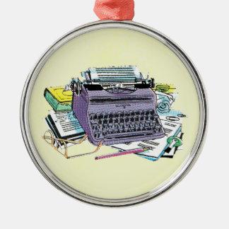 Lápiz del papel de máquina de escribir de las adorno redondo plateado
