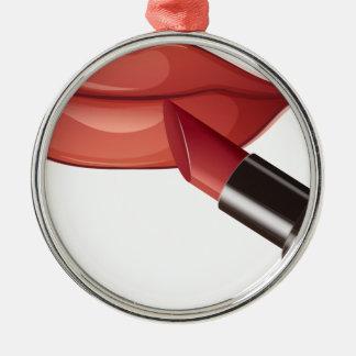 lápiz labial adorno redondo plateado