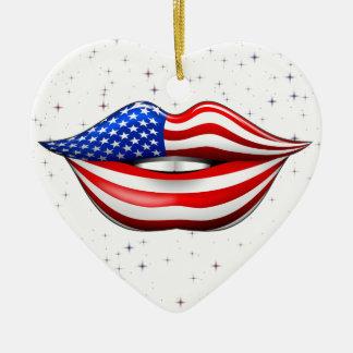 Lápiz labial de la bandera de los E.E.U.U. en el Adorno De Cerámica En Forma De Corazón