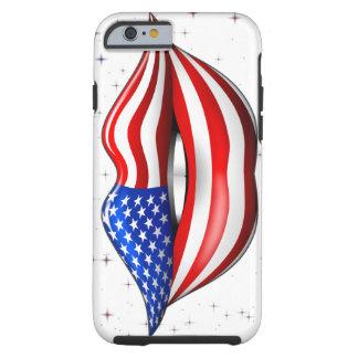Lápiz labial de la bandera de los E.E.U.U. en el Funda De iPhone 6 Tough