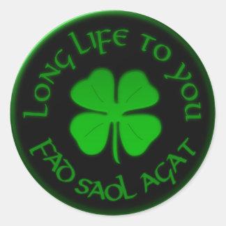Larga vida a usted refrán irlandés pegatina redonda