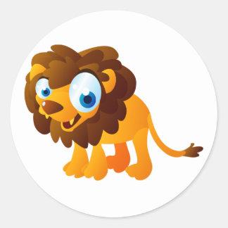Larry el león pegatina redonda