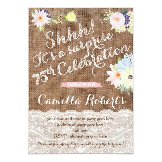 las 75.as invitaciones del cumpleaños, fiesta de invitación 12,7 x 17,8 cm