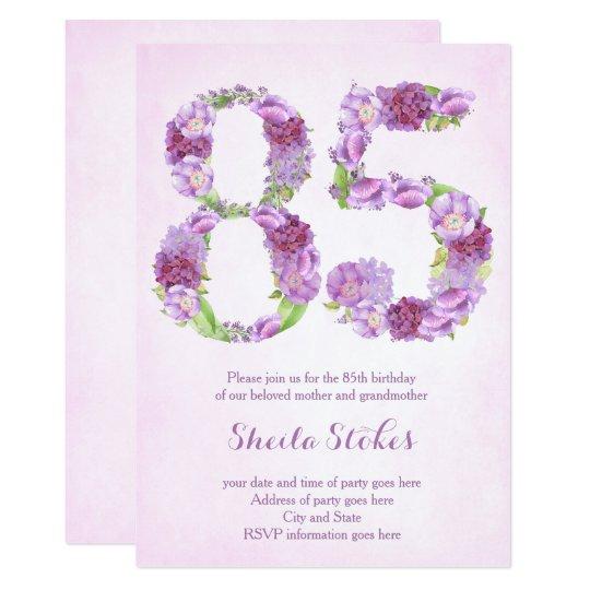 las 85as invitaciones del cumpleaños de la señora, invitación 12,7 x 17,8 cm