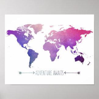 las aventuras aguardan el mapa de la acuarela, póster