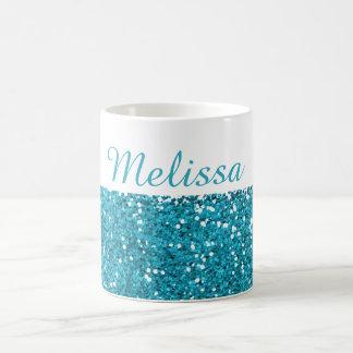 Las azules turquesas elegantes brillan mi nombre taza de café