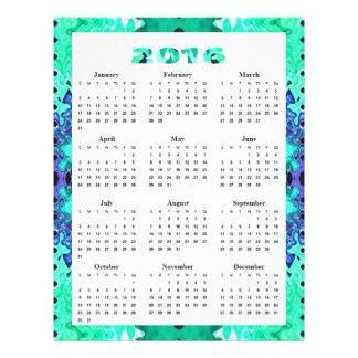 Las azules turquesas resumen el calendario 2016 folleto 21,6 x 28 cm