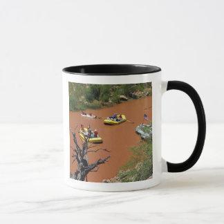 Las balsas accionadas remo dan vuelta en el río taza