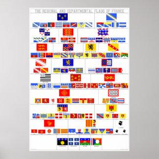 Las banderas regionales y departamentales de Franc Poster