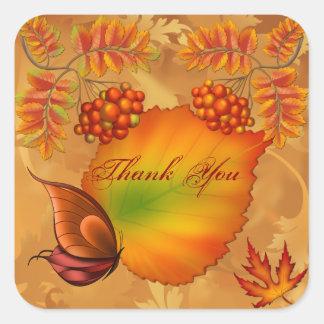 Las bayas del otoño le agradecen pegatina cuadrada