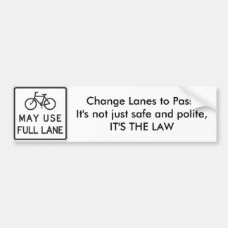 Las bicicletas pueden utilizar carriles llenos del pegatina para coche