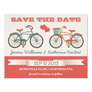 Las bicicletas retras del vintage ahorran la fecha invitación 10,8 x 13,9 cm