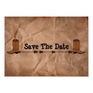 Las botas de vaquero ahorran la fecha invitación 12,7 x 17,8 cm