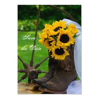 Las botas de vaquero rústicas de los girasoles invitación 12,7 x 17,8 cm