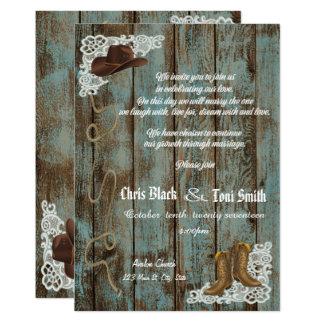 Las botas rústicas contemporáneas y el boda del invitación 12,7 x 17,8 cm