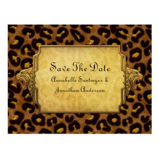 Las cabezas del leopardo del oro del estampado postal