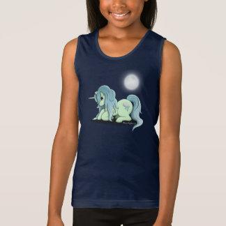 Las camisetas sin mangas del chica del unicornio