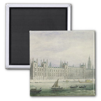 Las casas del parlamento grafito pluma y tinta y imán para frigorífico