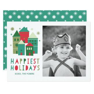 Las casas más felices de los días de fiesta rojas invitación 12,7 x 17,8 cm