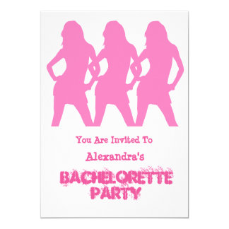 Las chicas marchosas rosadas personalizaron al invitación 12,7 x 17,8 cm