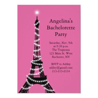 Las chispas Bachelorette de la torre Eiffel Invitación 12,7 X 17,8 Cm