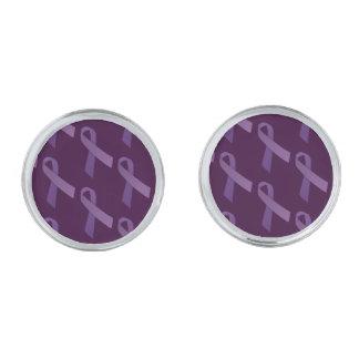 Las cintas púrpuras tejaron el modelo gemelos plateados