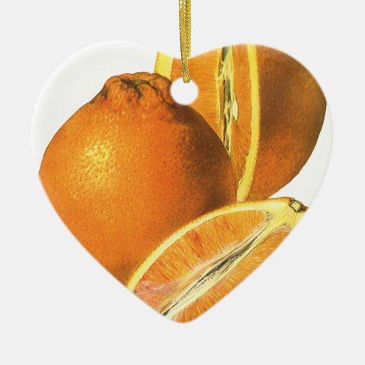 Las comidas del vintage, dan fruto los naranjas sa adorno