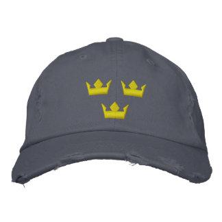 las coronas del tre de Suecia cosieron los gorras