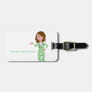 Las enfermeras ahorran vidas etiquetas para maletas