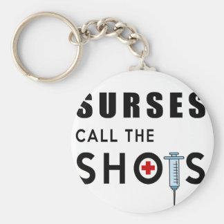 Las enfermeras llaman los tiros llavero redondo tipo chapa