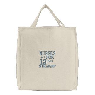 ¡Las enfermeras lo hacen 12 horas de recto! - Azul Bolsas De Lienzo