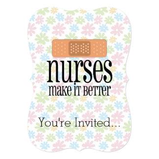 Las enfermeras lo hacen un vendaje mejor, lindo de invitación 12,7 x 17,8 cm