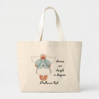 Las enfermeras son ángeles en disfraz bolsa tela grande