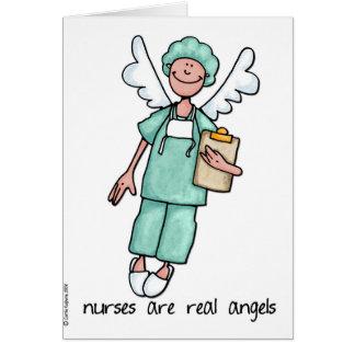 las enfermeras son ángeles reales tarjeta de felicitación