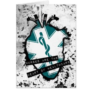 las enfermeras son el corazón anatómico de la tarjeta de felicitación