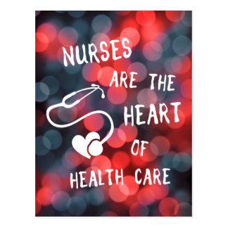 las enfermeras son el corazón del bokeh de la postal
