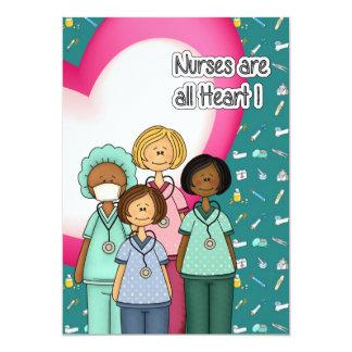 Las enfermeras son todo el corazón. Tarjetas Invitación 12,7 X 17,8 Cm